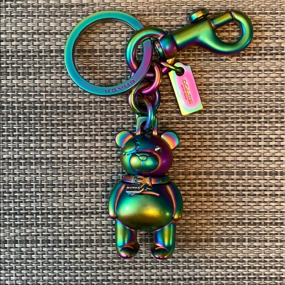 Coach teddy bear keychain